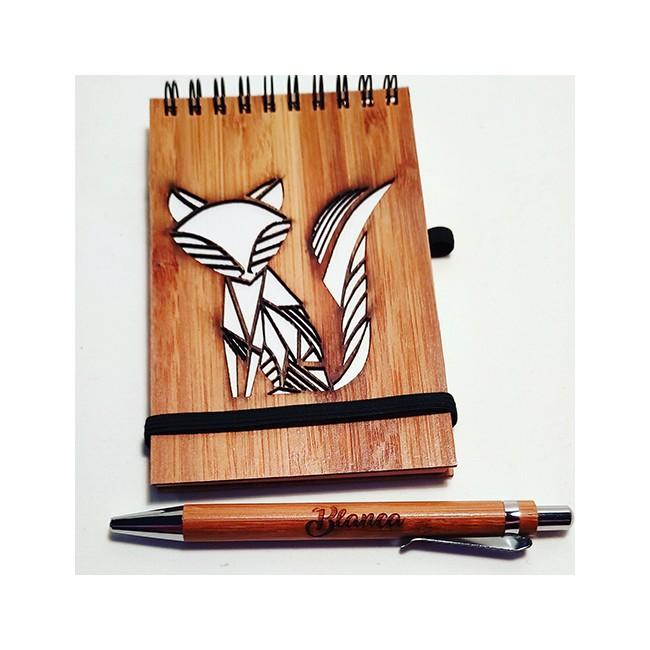 Libreta de bambú con boli personalizada